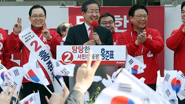 """洪 """"열흘만 있으면 판 뒤집힌다""""…고향 PK서 '동남풍' 확산 총력"""