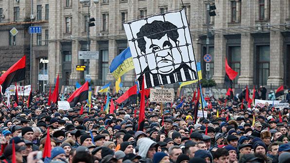 우크라서 포로셴코 대통령 탄핵 요구 대규모 반정부 시위