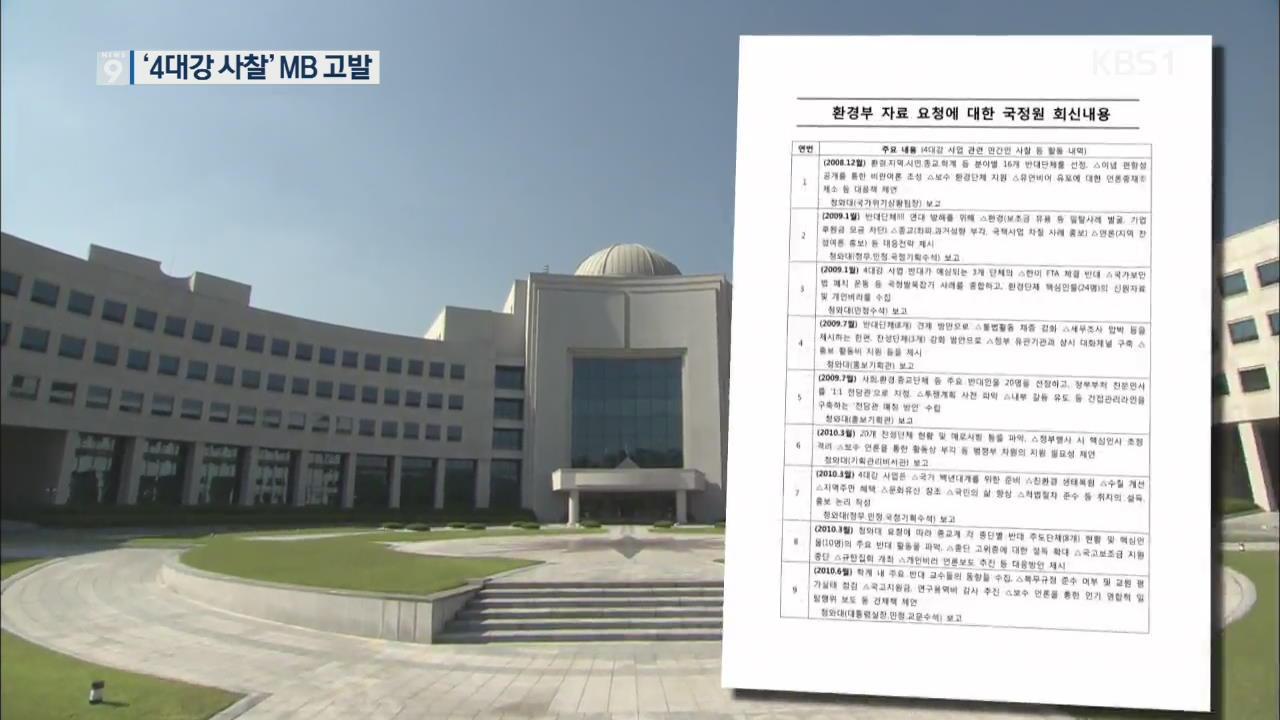 '4대강 사찰' 이명박·원세훈 고발…국정원 원문 공개될 듯