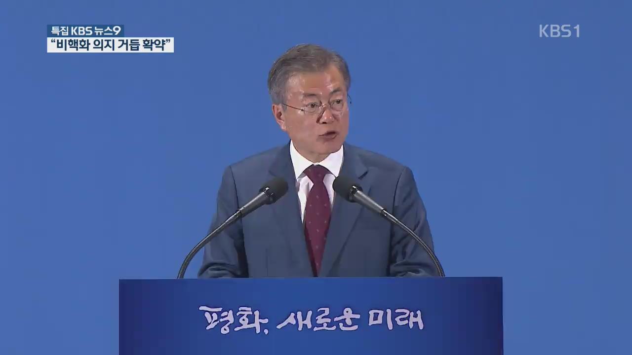 """문 대통령 대국민 보고…""""金, 확고한 비핵화 의지 거듭거듭 확약"""""""