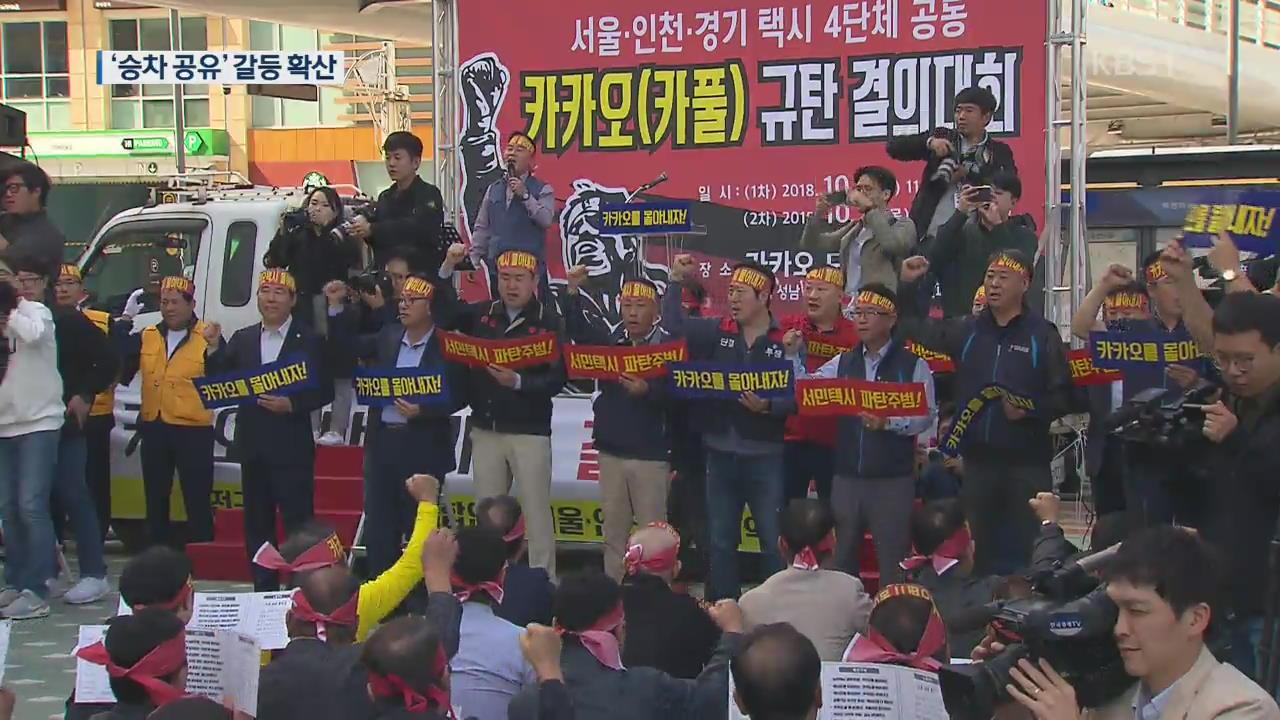 택시단체, 카카오앞 반대 시위…'승차공유' 갈등 확대되나