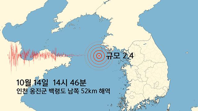 서해 백령도 남쪽 해역에서 규모 2.4 지진