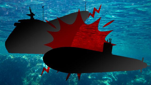 釜山沖で潜水艦・自動車運搬船の衝突